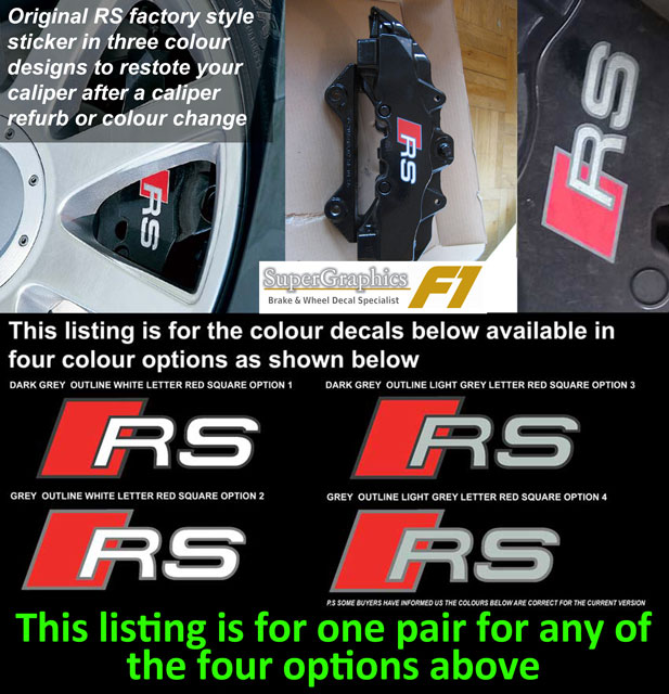 Audi RS factory style brake decals Light grey keyline